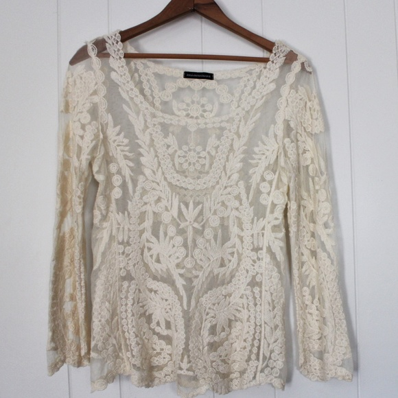 Youarenotalone Tops - Ivory Mesh and Lace Long Sleeve Boho Blouse Med